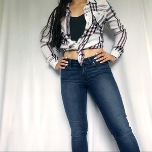 Guess plaid button up top